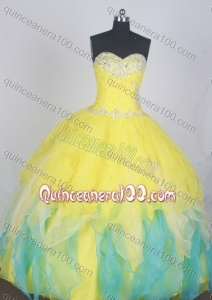 Gorgeous Yellow Ball Gown Sweetheart Beading And Ruffles Quinceanera Dress