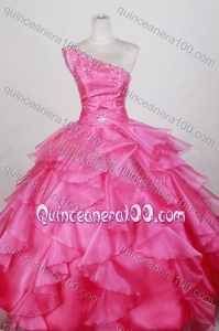 Luxurious Ball Gown Beading One Shoulder Hot Pink Quinceanera Dresses