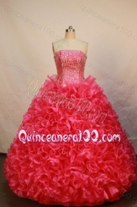 Luxurious Ball Gown Strapless Red Beading And Ruffles Quinceanera Dress