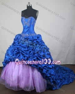 Luxurious Ball Gown Sweetheart Blue Appliques And Pick-ups Quinceanera Dress