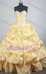 Luxurious Yellow Ball Gown Sweetheart Beading And Pick-ups Quinceanera Dress