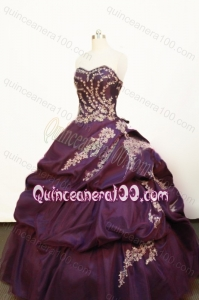 Pretty Appliques and Pick-ups Ball Gown Strapless Purple Quinceanera Dress
