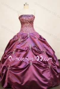 Pretty Ball Gown Strapless Appliques And Pick-ups Quinceanera Dress In Fuchsia