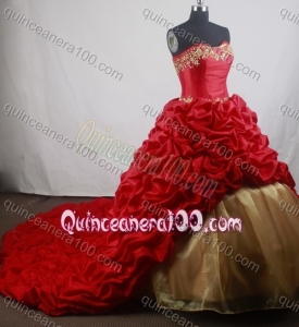 Romantic Ball Gown Embroidery Strapless Red Chapel Train Quinceanera Dresses
