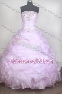 Romantic Beading Ball Gown Strapless Baby Pink Quinceanera Dresses