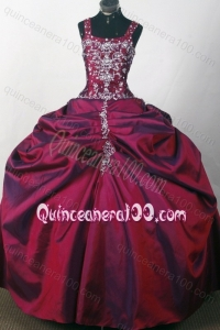 Straps Ball Gown Beaded Decorate Quinceanera Dresses in Burgundy