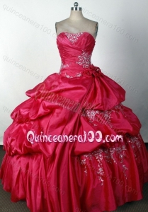 Strapless Ball Gown Beading and Appliques Quinceanera Dresses in Coral Red
