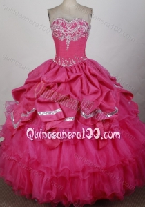Sweetheart Ball Gown Beading and Ruffles Taffeta and Organza Hot Pink Quinceanera Dresses