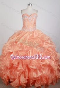 Sweetheart Beadings Embroidery Orange Ruffles Discount Quinceanera Dress