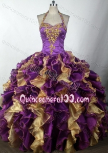 Halter Top Beading and Appliques Ruffles Multi-color Quinceanera Dresses