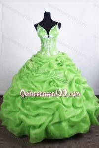 Beautiful Ball Gown Straps Spring Green Quinceanera Dresses with Appliques And Pick-ups