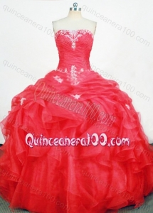 Cute Ball Gown Strapless Red Quinceanera Dresses With Appliques