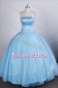 Elegant Light Blue Ball Gown Strapless Beading Quinceanera Dresses