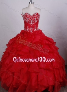Exquisite Ball Gown Red Sweetheart Beading And Ruffles Quinceanera Dresses