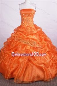 Orange Beautiful Ball Gown Strapless Beading And Pick-ups Quinceanera Dresses