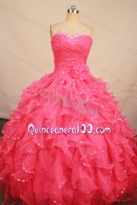 Pretty Ball Gown Sweetheart Organza Beading And ruffles Watermelon Quinceanera Dresses