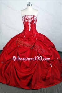 Red Elegant Ball Gown Strapless Taffeta Appliques And Beading Quinceanera Dresses