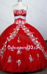 Red Gorgeous Ball Gown Sweetheart Beading And Appliques Quinceanera Dresses