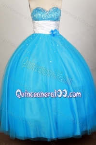 Sequins Sweetheart Blue Organza Quinceanera Dresses with Beading