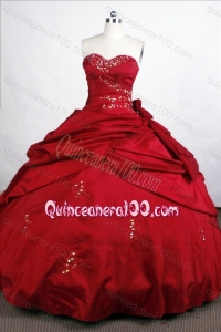 Wine Red Simple Ball Gown Sweetheart Beading And Pick-ups Quinceanera Dresses