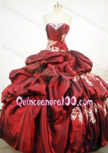 Wonderful Ball Gown Strapless Quinceanera Dresses With Appliques And Pick-ups