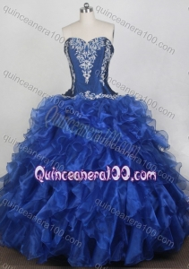 Classical Ball Gown Embroidery Sweetheart Blue Ruffles Quinceanera Dresses