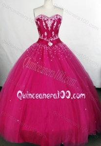 Affordable Fuchsia Ball Gown Sweetheart Tulle Appliques And Beading Quinceanera Dresses