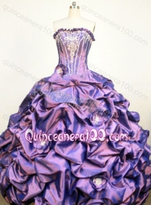 Classical Ball Gown Strapless Purple Appliques and Pick-ups Quinceanera Dress