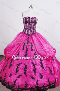 Classical Hot Pink Ball gown Strapless Embroidery And Beading Quinceanera Dress