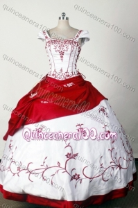 Classical White/Red Ball Gown Square Embroidery Quinceanera Dresses