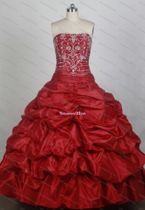 Elegant Ball Gown Beading Strapless Red Quinceanera Dresses With Ruffles
