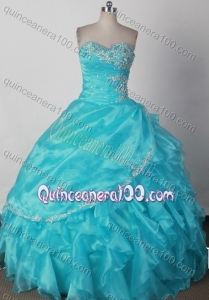 Elegant Ball Gown Sweetheart Ruffles And Beading Quinceanera Dress in Aqua Blue