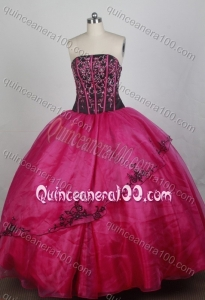 Fashionable Hot Pink Ball Gown Strapless Beading Quinceanera Dresses