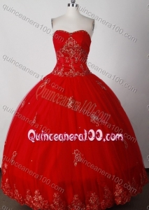 Formal Red Ball Gown Strapless Quinceanera Dress with Beading