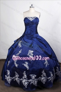 Lovely Royal Blue Ball Gown Strapless Taffeta Appliques And Pick-ups Quinceanera Dresses