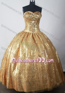 Luxuriously Ball Gown Strapless Gold Paillette Quinceanera Dress