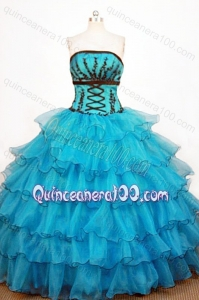 Perfect Ball Gown Strapless Teal Quinceanera Dresses With Ruffled Layers And Appliques
