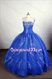 Perfect Blue Ball Gown Strapless Organza Appliques Quinceanera Dresses