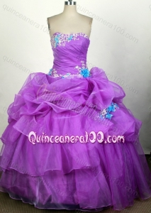Popular Ball Gown Beading and Pick-ups Quinceanera Dress with Appliques