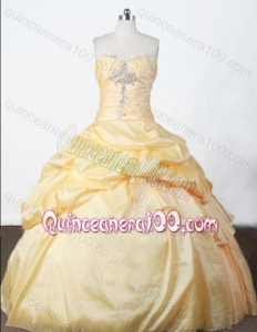 Pretty Ball Gown Strapless Appliques And Pick-ups Quinceanera Dresses