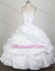 Simple White Ball Gown Sweetheart Beading and Pick-ups Quinceanera Dresses