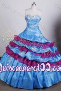 2014 Pretty Ball Gown Sweetheart Aque Blue Quinceanera Dresses with Appliques