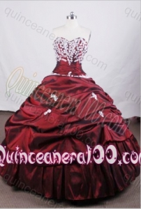 Beautiful Ball Gown Appliques and Pick-ups Sweetheart Wine Red Quinceanera Dresses