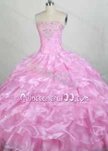 Beautiful Ball gown Beading Strapless Rose Pink Quinceanera Dresses