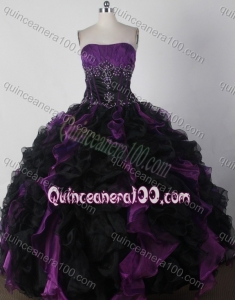 Brand New Colorful Ball Gown Strapless Beading and Ruffles Quinceanera Dress