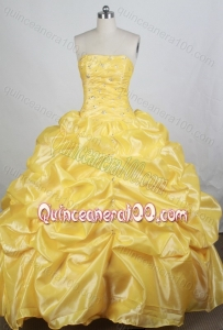 Brand New Yellow Ball gown Strapless Beading Quinceanera Dresses