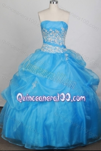 Cheap Aqua Blue Strapless Appliques with Beading Quinceanera Dresses