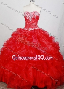 Classical Ball Gown Sweetheart Appliques and Ruffles Quinceanera Dresses