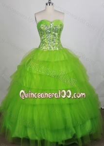 Discount Ball gown Sweetheart Beaded Decorate Quinceanera Dresses in Green
