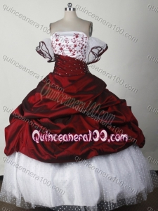 Elegant Wine Red And Whtie Ball Gown Strapless Appliques Quinceanera Dress